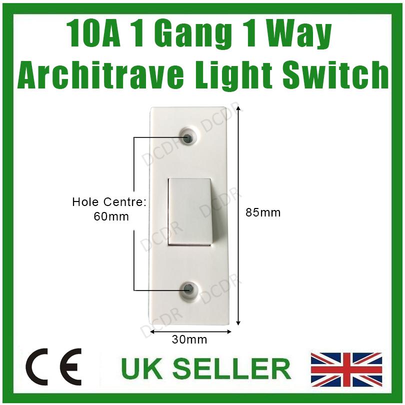 1 Gang Interruptor De 2 vías Estándar Blanco Placa por obtener 6AX