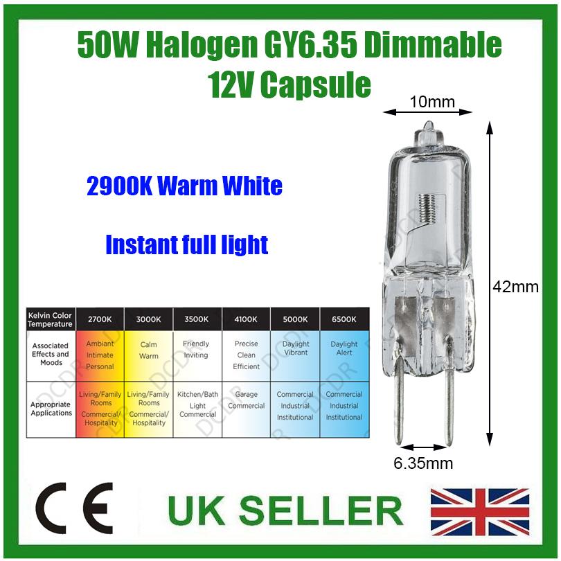2x 50 W 12 V Halogène GY6.35 dimmable clair Capsule Ampoule Lampe Avec UV STOP