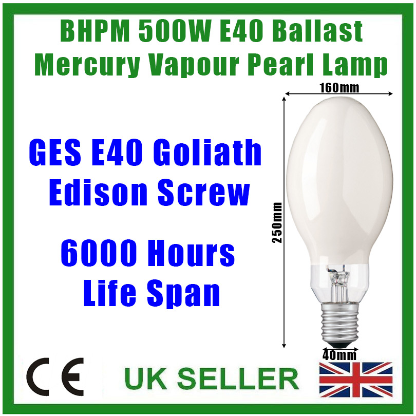 1x 500W Pearl BHPM Ballast Mercury Vapour Lamp Light Bulb GES E40 Edison Screw