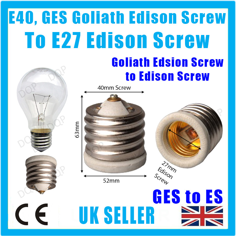 12x Edison Screw ES E27 To Goliath Screw E40 GES Bulb Adaptor Converter Holders