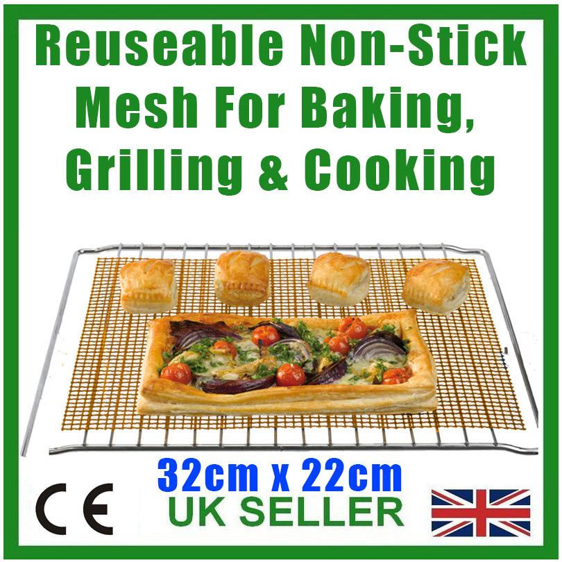Reusable Non-Stick Mesh Oven Shelf Tray Sheet 41x34cm Grill Pan Cooking Baking