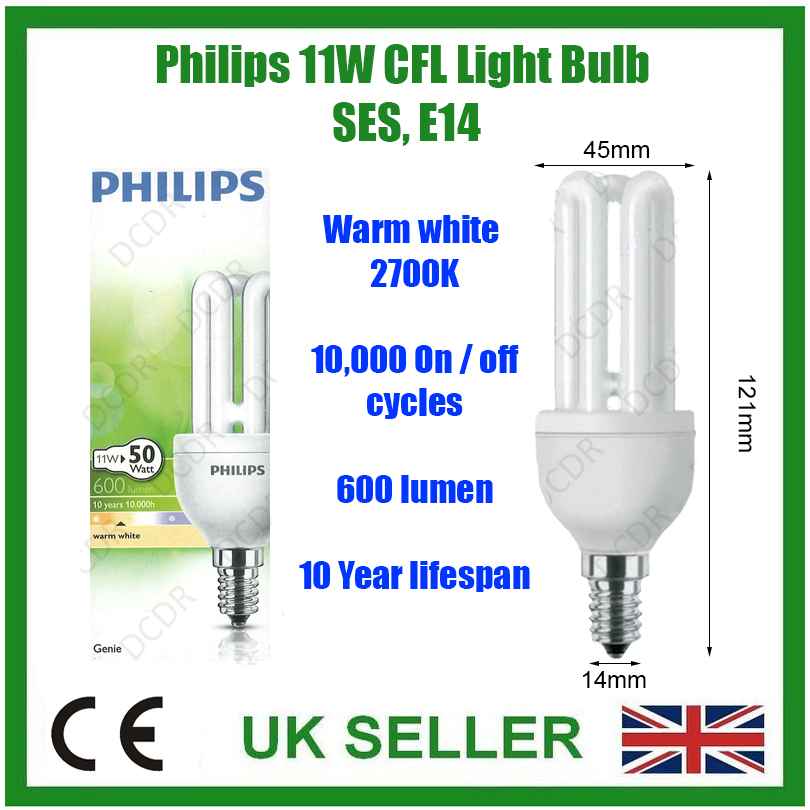 1 x philips genius 11w 50w energiesparlampe cfl lange lebenszeit e14 ebay. Black Bedroom Furniture Sets. Home Design Ideas