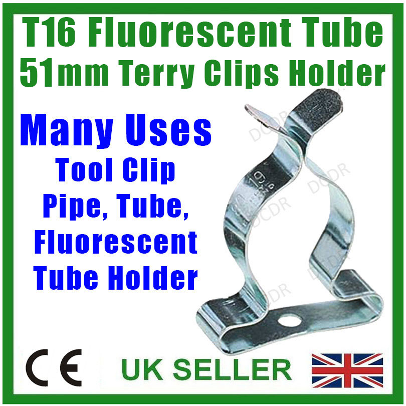 "1.5/"" Terry Spring Clips 38mm Pipe Tool Storage 5x T12 Fluorescent Tube Holders"