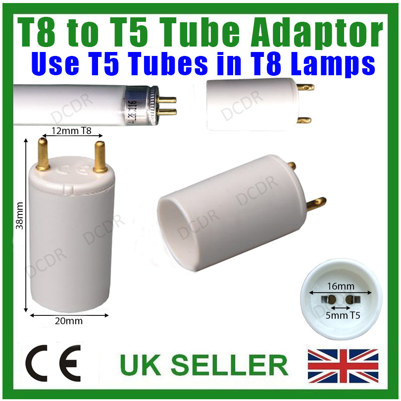 8x T8 To T5 Lampe Support Prise Adaptateur 38mm Long,26mm 2.5cm 16mm Tube