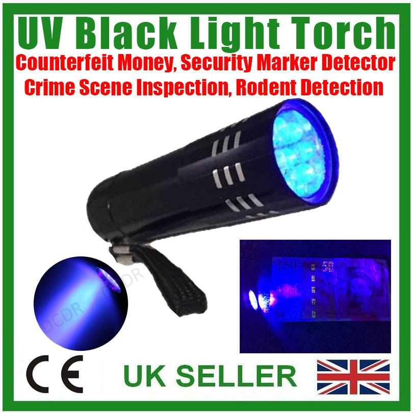 NEW LED UV Black Light Torch Ultra Violet Gas Leak Forensic Blood Urine Detector