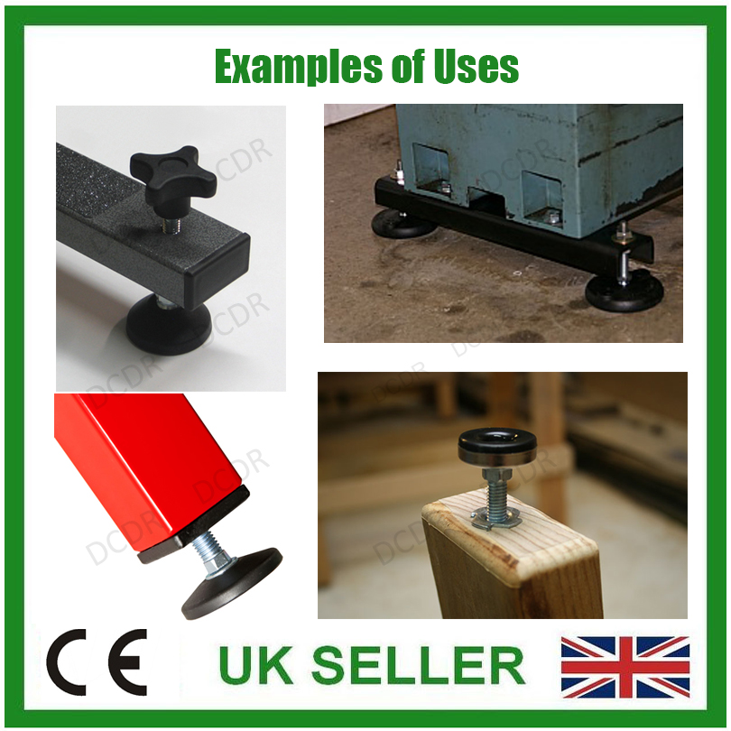 M8 x 50mm Adjustable Surface Mountable Levelling Feet Foot 1x 42mm Diameter